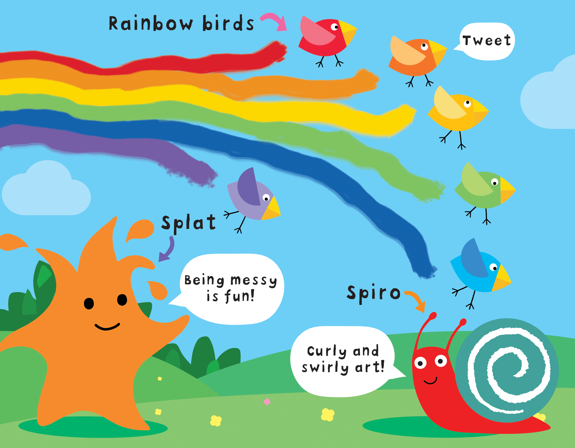 Rainbow birds, Splat and Spiro